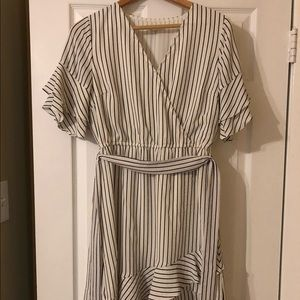 White and Black Striped Small Dress